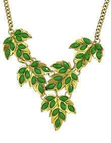 Green Imitation Gemstone Statement Leaf Necklace