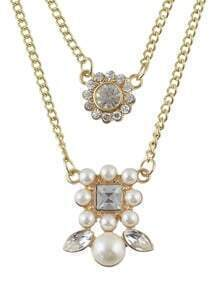 Gold Plated Imitation Pearl Pendant Necklace Jewelry