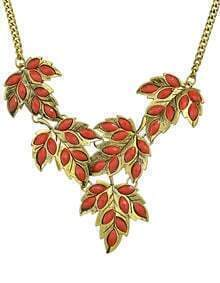 Red Imitation Gemstone Statement Leaf Necklace