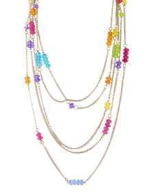 Trendy Multilayer Gold Plated Colorful Beads Chain Necklace