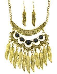 Fashionable Antique Gold Trible Style Hanging Leaf Necklace Earrings Indian Jewelry Set