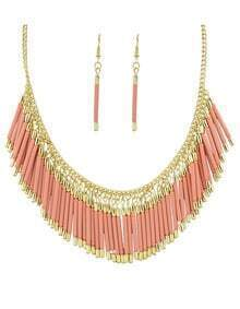 Beautiful Pink Resin Tassel Long Necklace Earrings Jewelry Set