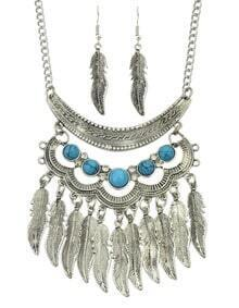 Fashionable Antique Silver Trible Style Hanging Leaf Necklace Earrings Indian Jewelry Set