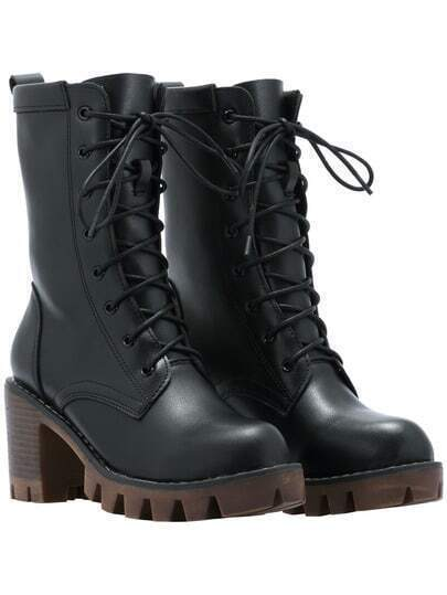 Black Lace Up PU Chunky Boots