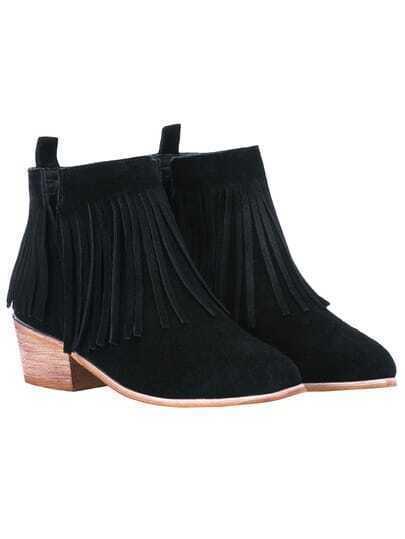 Black Cutout Tassel Boots
