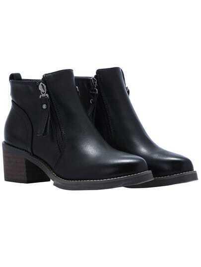 Black Brush Zippers PU Boots