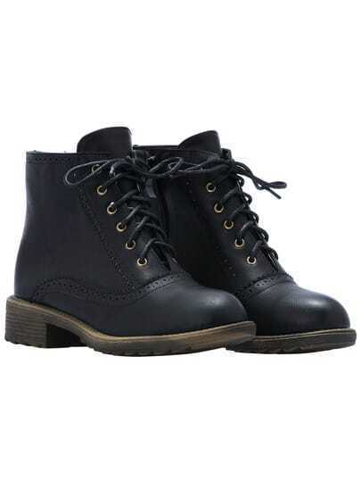 Black Zipper Lace Up Pierced PU Boots
