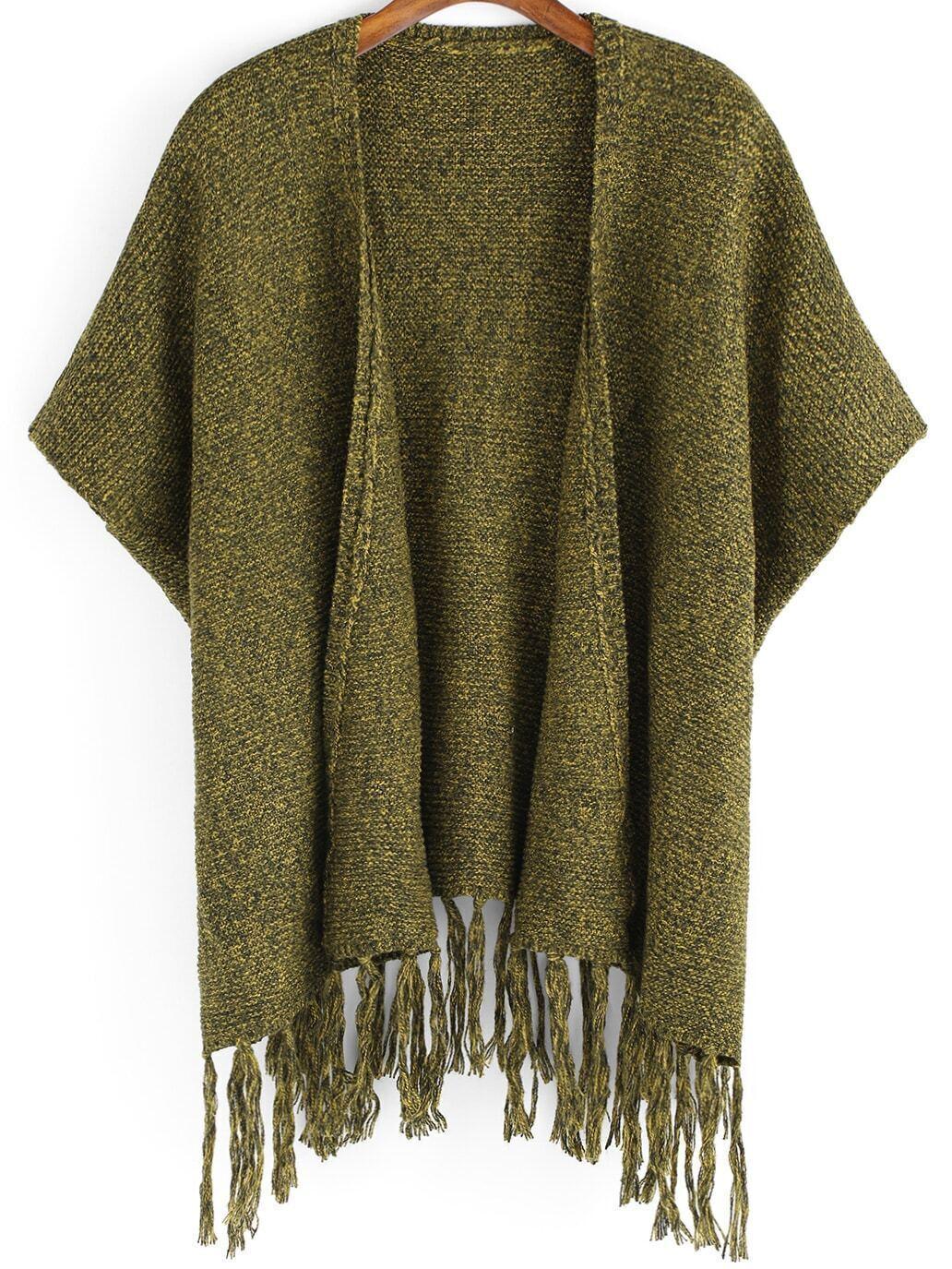 Army Green Batwing Sleeve Tassel Sweater Coat