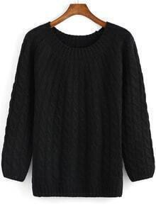 Black Round Neck Cable Knit Sweater