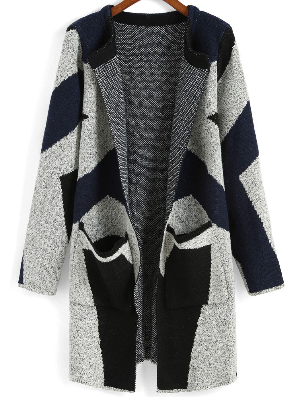 Colour-block Long Sleeve Pockets Sweater Coat