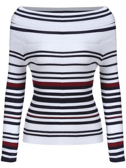 White Boat Neck Striped Slim Knitwear