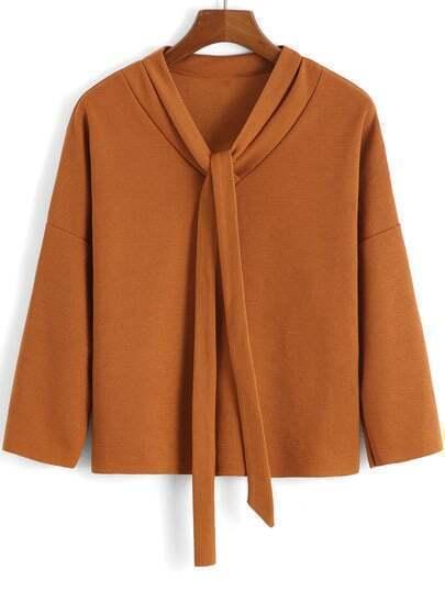 Khaki Tie-neck Loose Crop Blouse