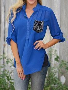 Blue Stand Collar Leopard Pocket Blouse