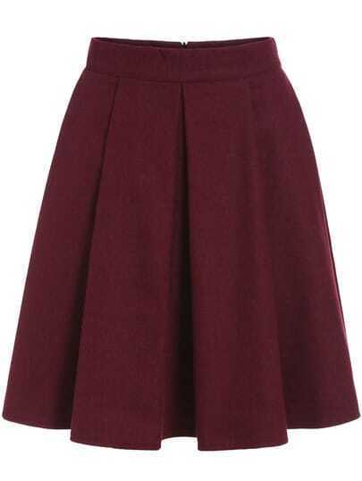 Red Pleated Woolen Skirt