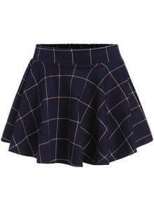 Navy Plaid Ruffle Flare Skirt