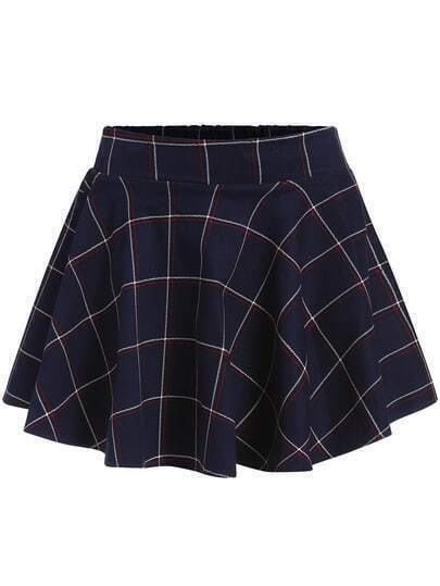 Navy Plaid Ruffle Flare Skirt