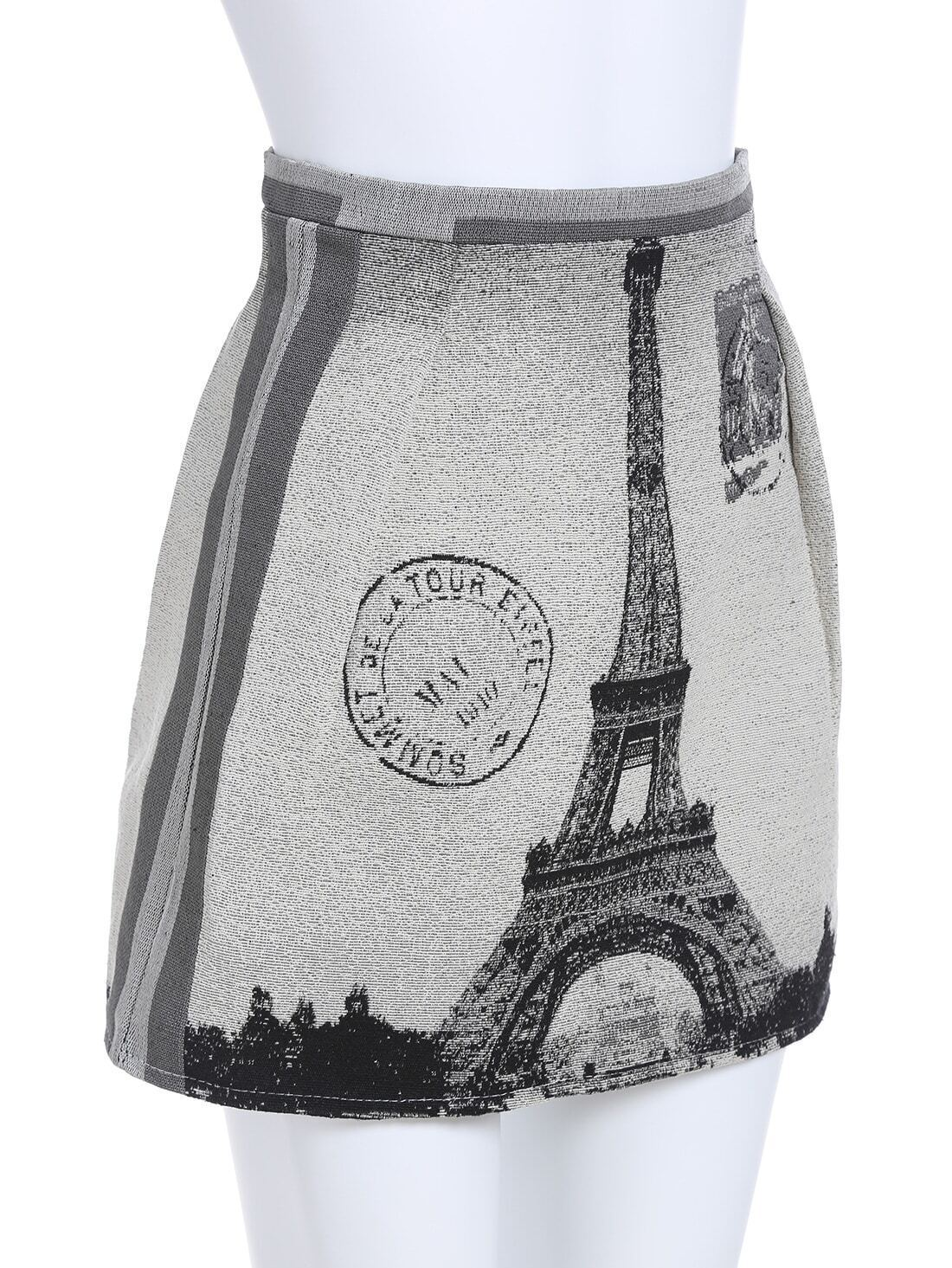 Grey eiffel tower print skirt shein sheinside