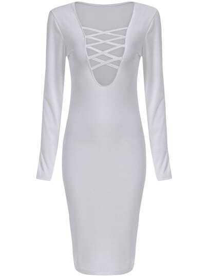 White Plunge Neck Bandage Slim Dress