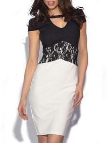Colour-block Short Sleeve Backless Lace Bodycon Dress