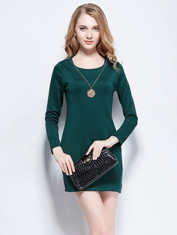 Green Round Neck Long Sleeve Loose Dress