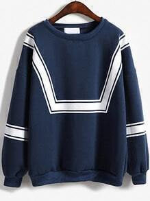 Blue White Round Neck Loose Sweatshirt