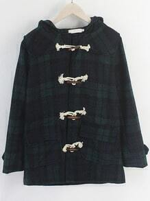Green Blue Hooded Horn Button Plaid Coat