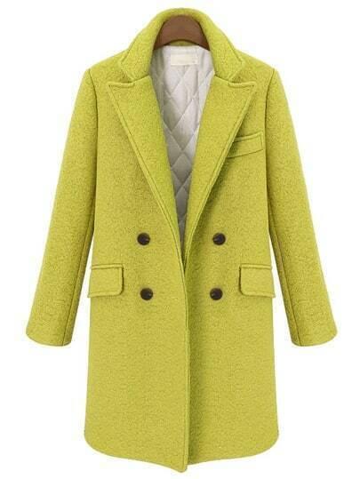 Yellow Lapel Double Breasted Woolen Coat