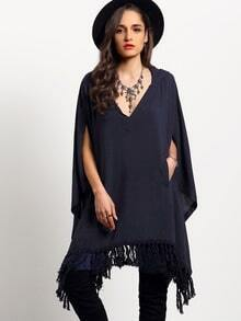 Black Hooded V Neck Tassel Loose Cape
