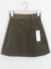 Dark Green Pockets Corduroy Skirt