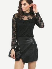 Black Stand Collar Sheer Mesh Lace Blouse