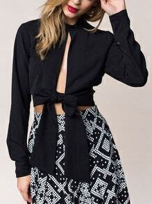 Black Long Sleeve Knotted Crop Blouse