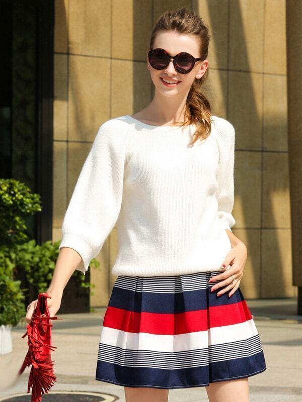 White Round Neck Loose Knitwear With Striped Skirt