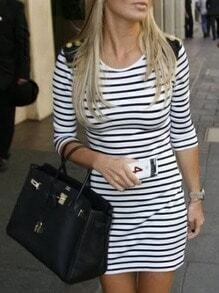White Black Round Neck Striped Dress