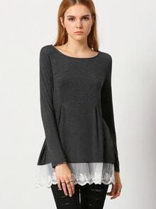 Grey Round Neck With Lace T-Shirt