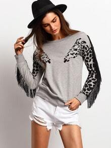 Grey Long Sleeve Tassel Sweatshirt