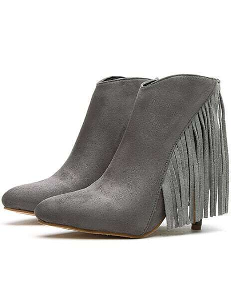 Grey Pointy Tassel High Heeled Boots