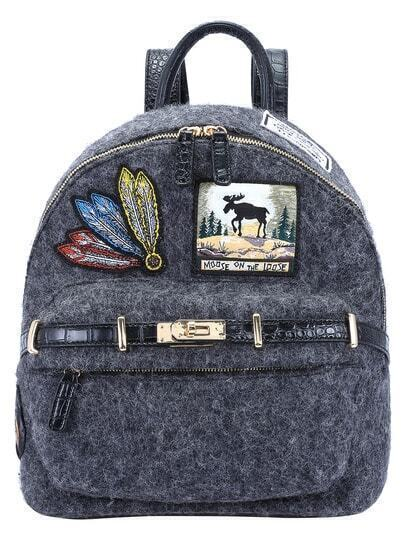 Grey Zipper Feathers Embroidered Backpack