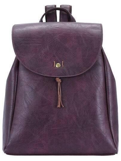 Maroon Zipper PU Backpack