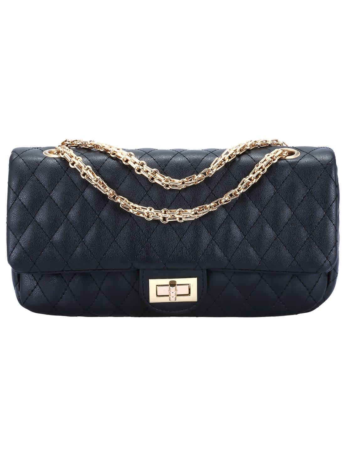 Black Twist Lock Diamond Pattern Chain Bag