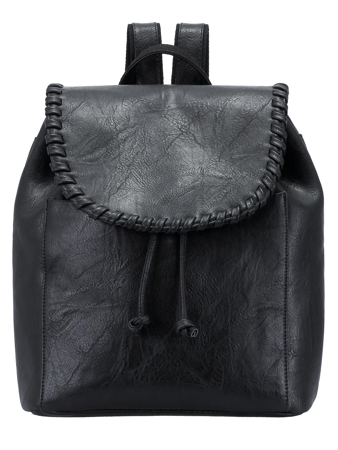 Black Plait Drawstring PU Backpack