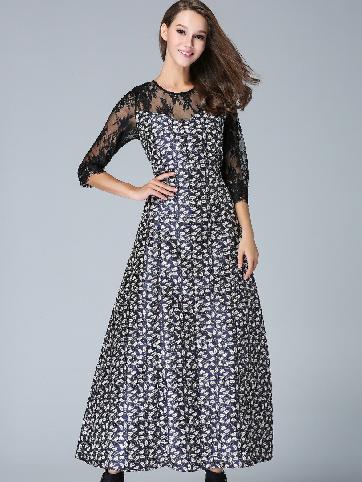Multicolor Round Neck Half Sleeve Jacquard Contrast Lace Dress