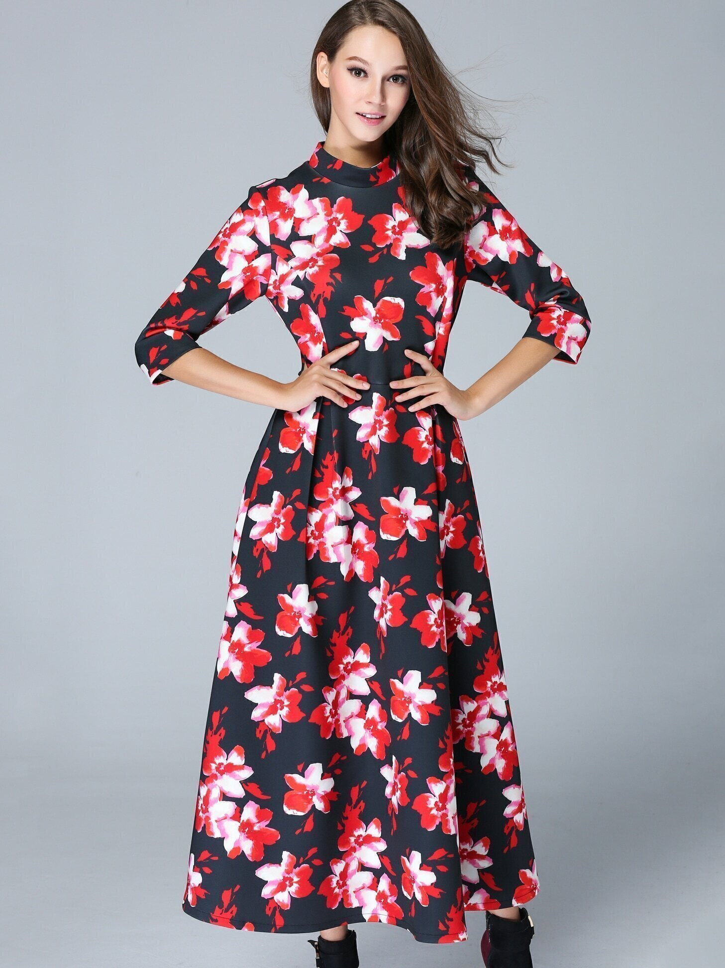 Black Stand Collar Half Sleeve Print Dress