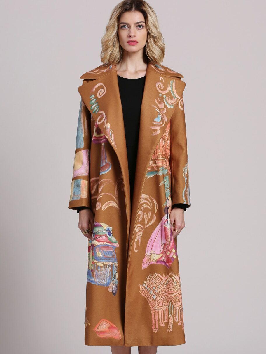 Camel V Neck Long Sleeve Print Pockets Coat