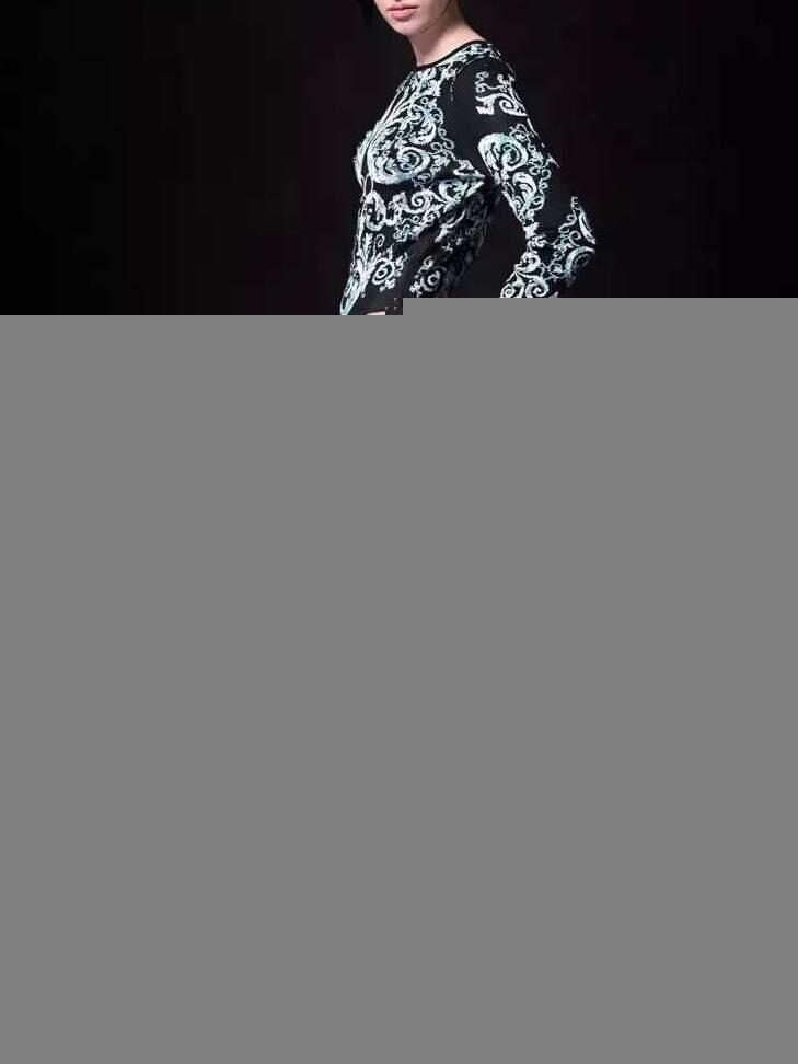 Black Round Neck Long Sleeve Knit Fishtail Dress