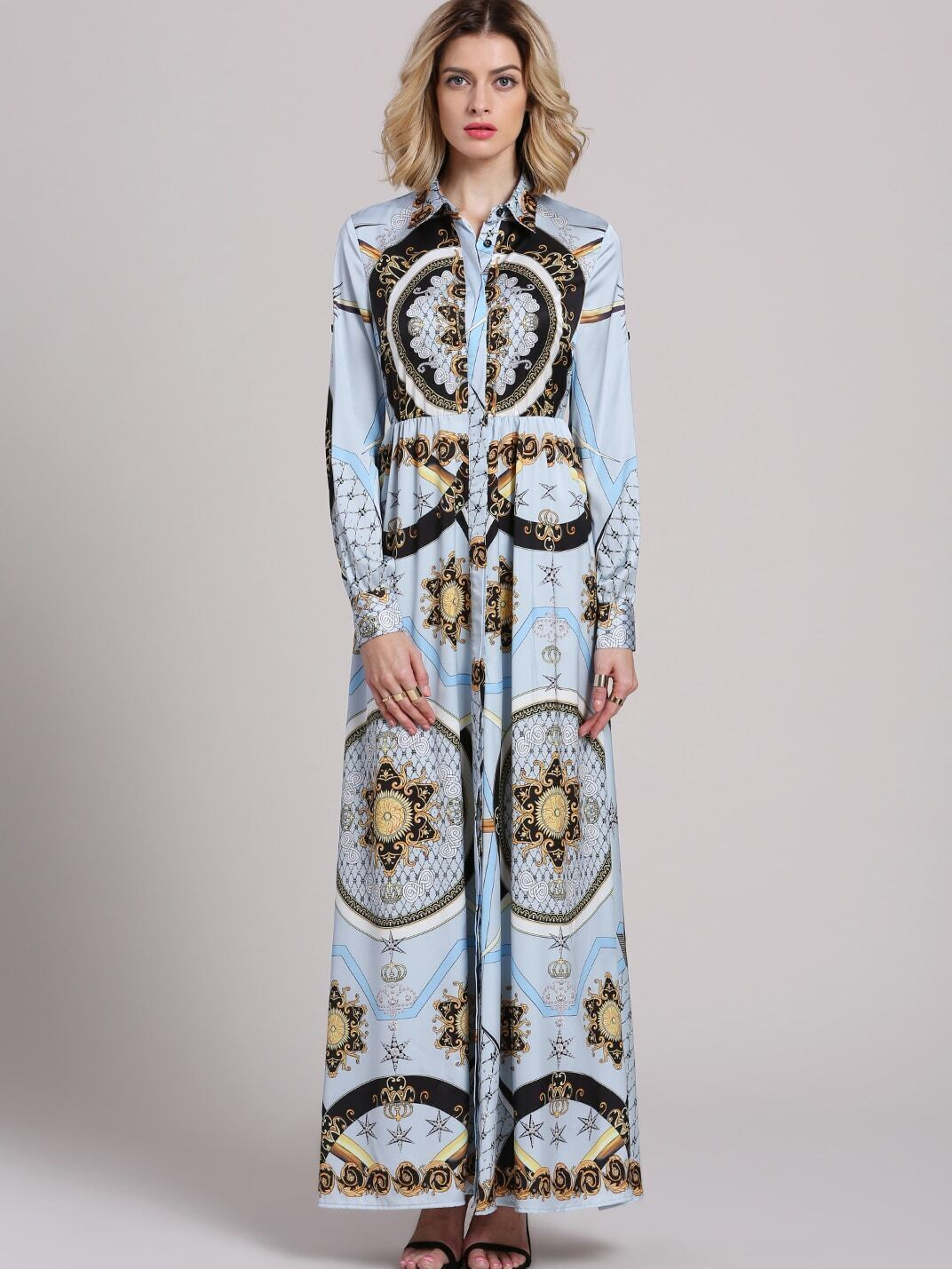 Blue Lapel Long Sleeve Vintage Print Dress