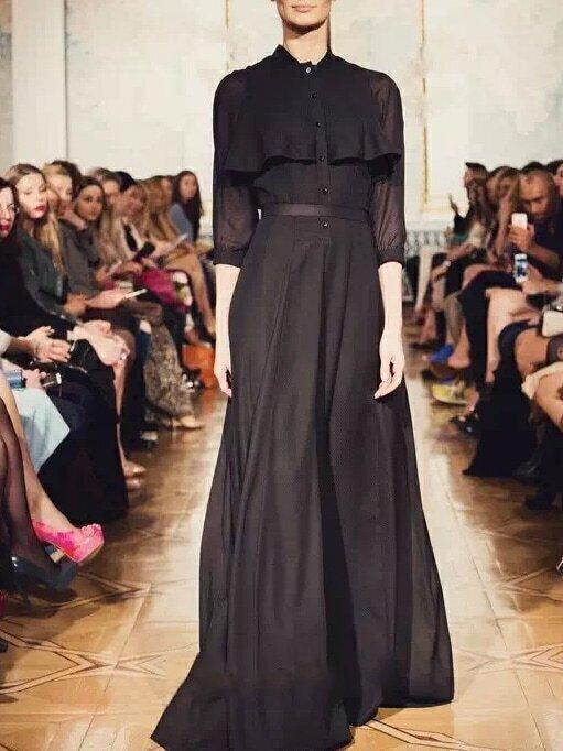 Black Stand Collar Length Sleeve Contrast Gauze Dress
