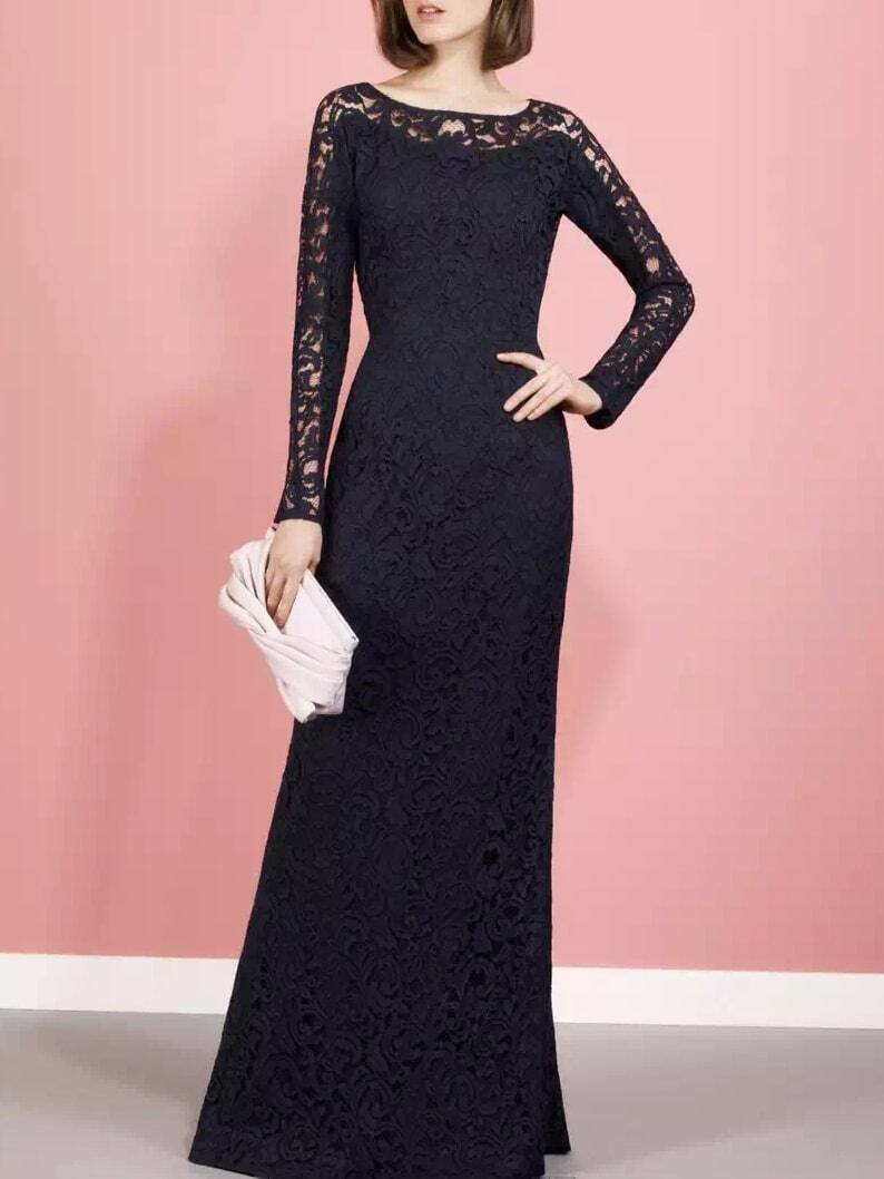 Black Round Neck Long Sleeve Lace Dress