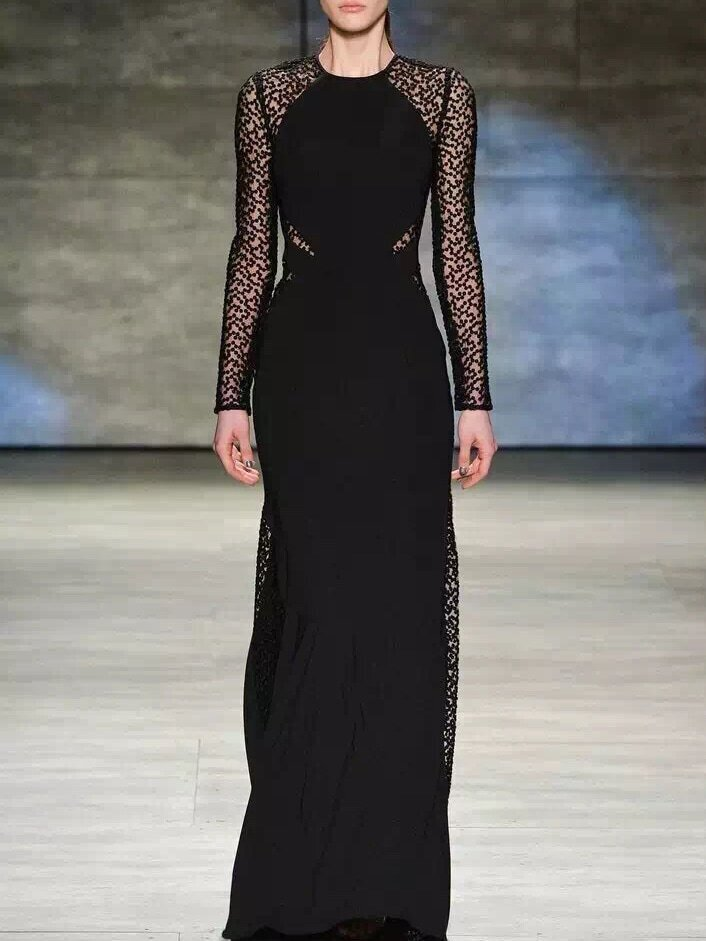 Black Round Neck Long Sleeve Maxi Dress