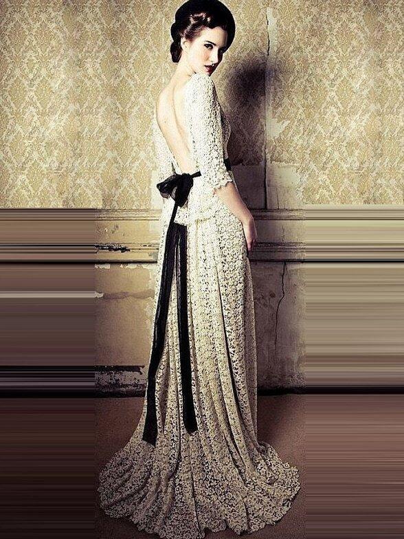 White Half Sleeve Contrast Gauze Tie-Waist Lace Dress