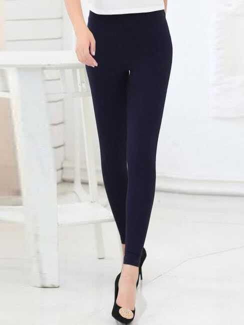 Navy Zipper Slim Leggings